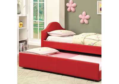 Image for Cresson Red Leatherette Platform Daybed w/Twin Trundle & Caster