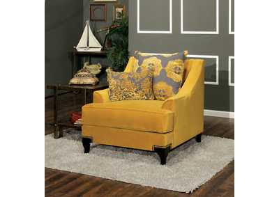 Wolver Gold Chair w/Accent Pillows