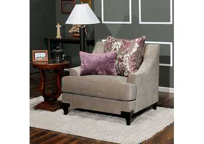 Wolver Vintage Taupe Chair w/Accent Pillows