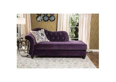 Antoinette  Purple Velvet Chaise w/Pillow