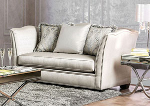 Alessandra Silver Loveseat w/Pillows