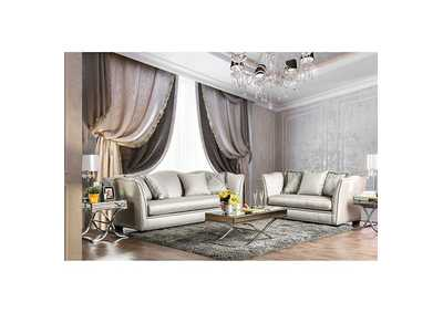 Alessandra Silver Sofa and Loveseat w/Pillows
