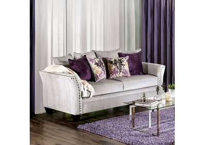 Oliviera Silver Sofa w/Pillows