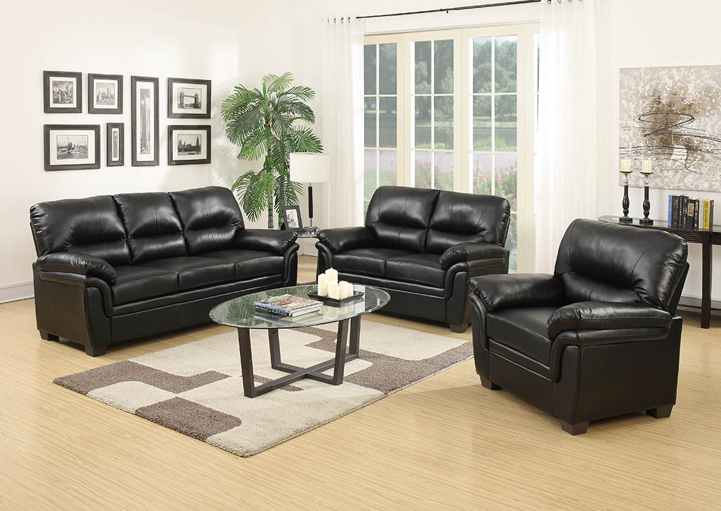 Market Furniture - Paterson, NJ Black Leather Look Sofa ...
