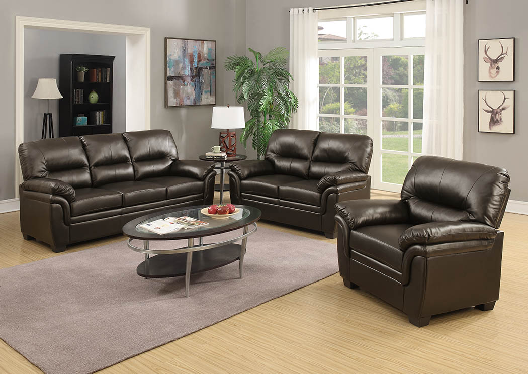 Westchester Furniture Chocolate Leather Look Sofa & Loveseat