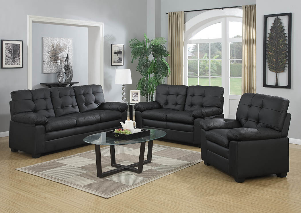 897932 Black Leather Look Sofa & Loveseat