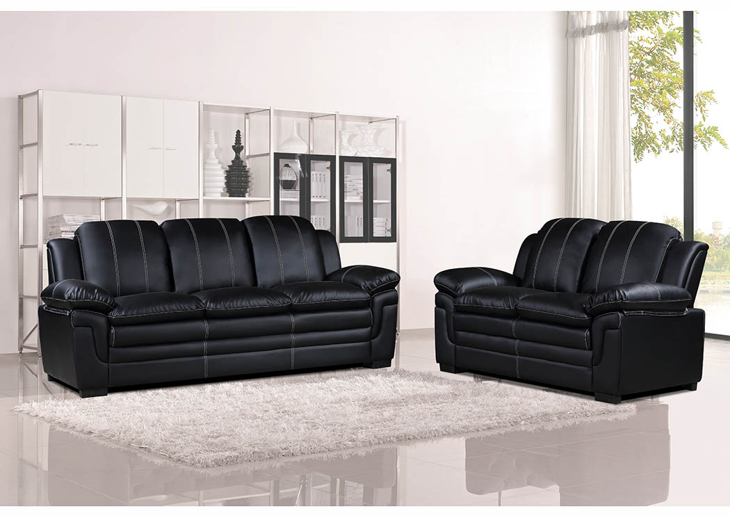 Just Furniture Black Leather Look Sofa & Loveseat w/Contrast ...