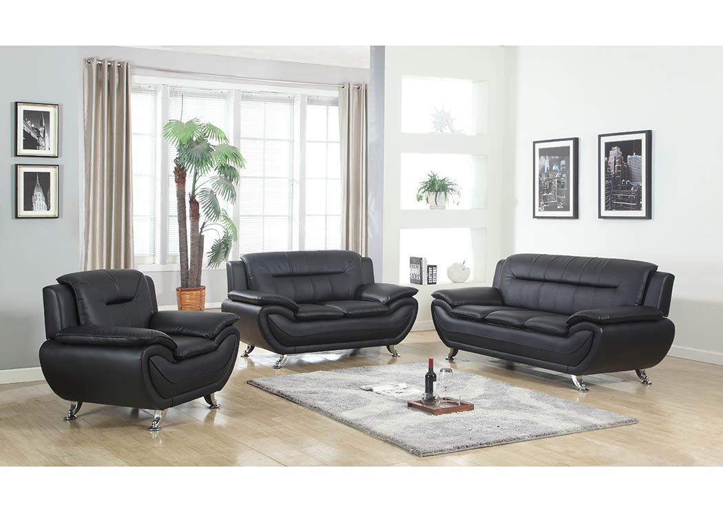 Just Furniture Black Leather Sofa & Loveseat w/Chrome Legs