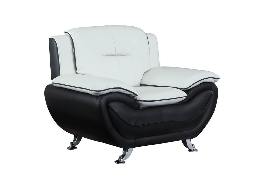 Just Furniture White & Black Leather Look Chair w/Chrome Legs