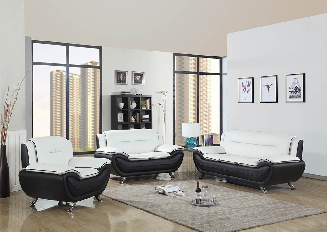 The Furniture Outlet NY White/Black Leather Sofa & Loveseat w/Chrome ...