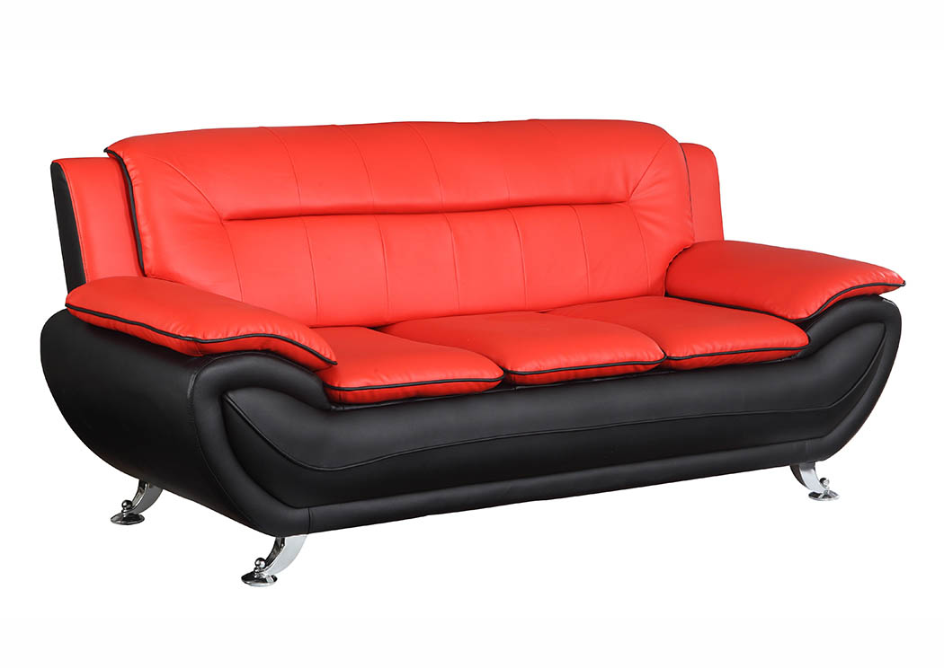 Just Furniture Red & Black Leather Look Sofa w/Chrome Legs