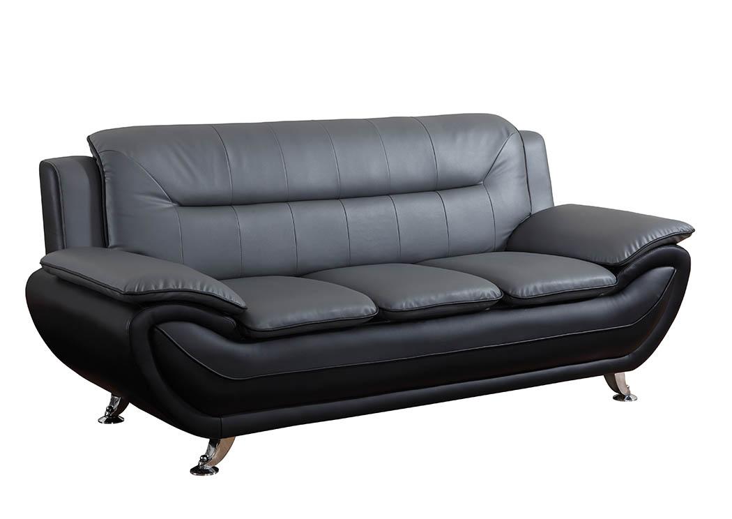 Just Furniture Grey & Black Leather Look Sofa w/Chrome Legs