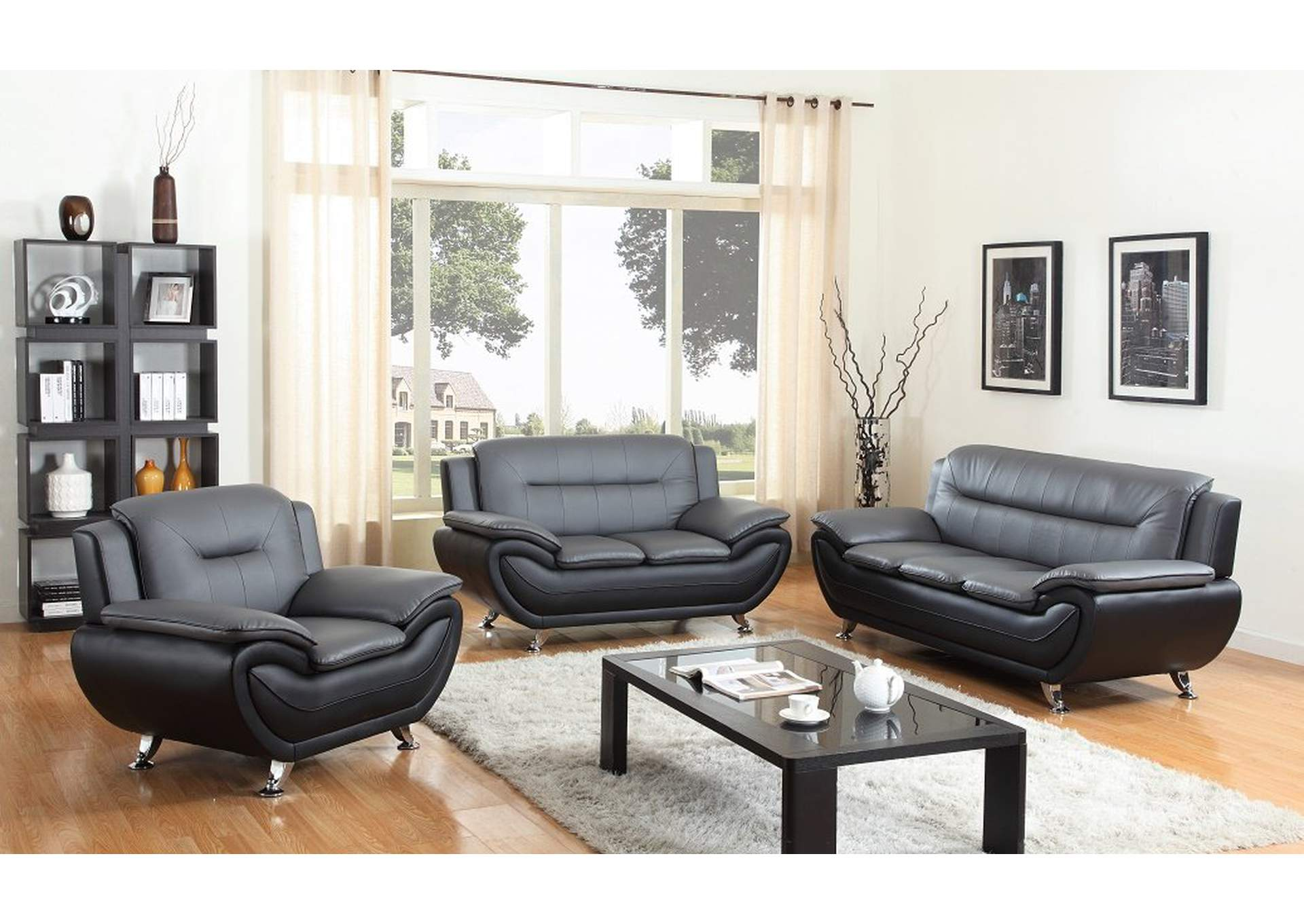 897987 Grey/Black Leather Sofa & Loveseat w/Chrome Legs