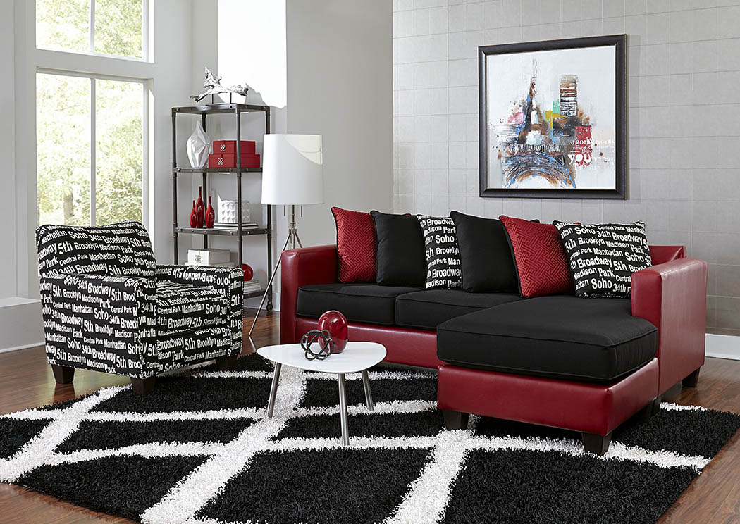 Just Furniture Red/Black Sofa Chaise w/Scatter-Back Pillows