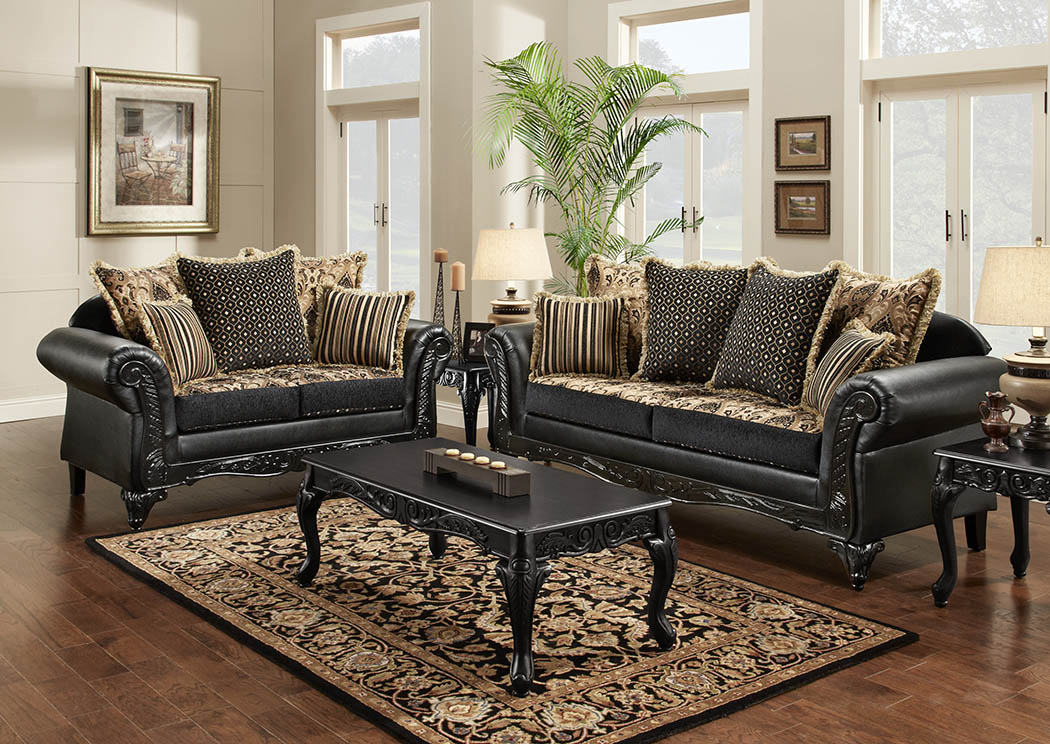 Super Just Furniture Black Chenille Paisley Sofa Loveseat W Gmtry Best Dining Table And Chair Ideas Images Gmtryco