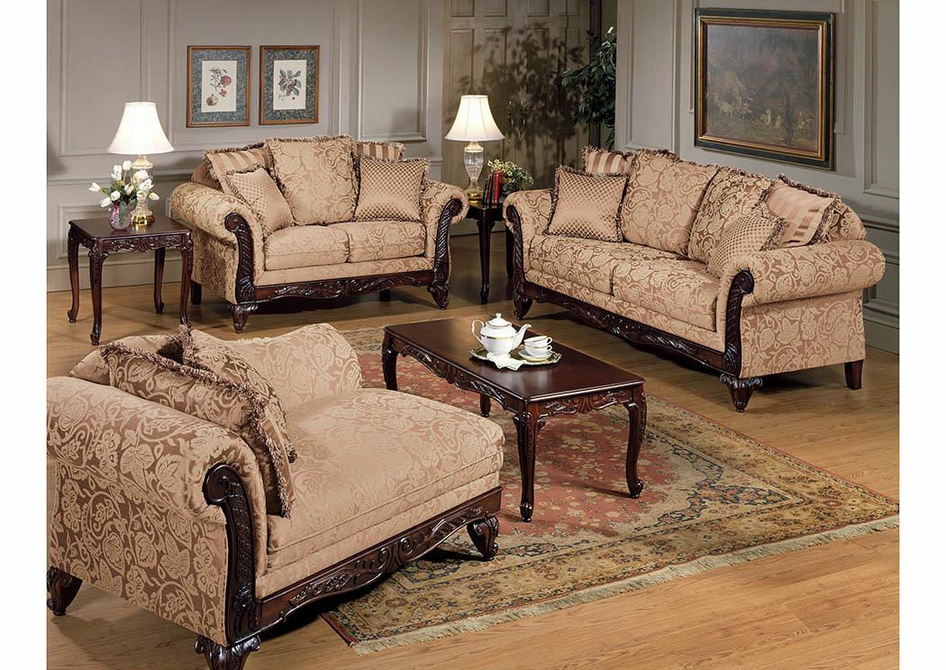 Just Furniture Khaki Jacquard Sofa Loveseat