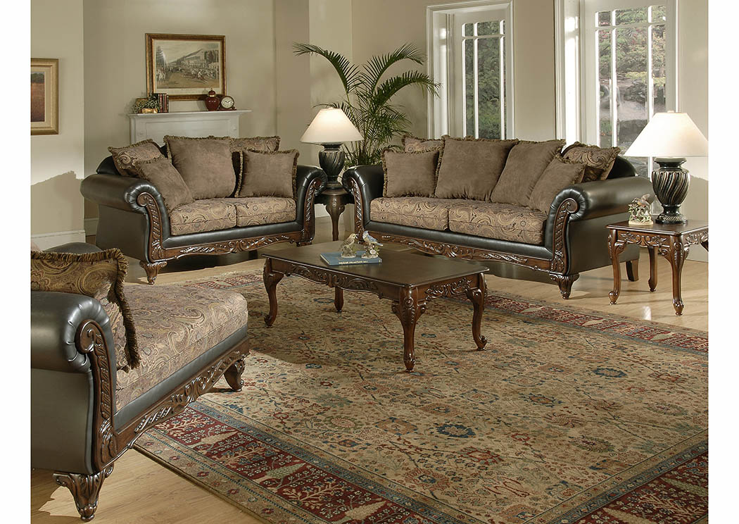 Surprising Just Furniture Chocolate Paisley Sofa Loveseat Gmtry Best Dining Table And Chair Ideas Images Gmtryco