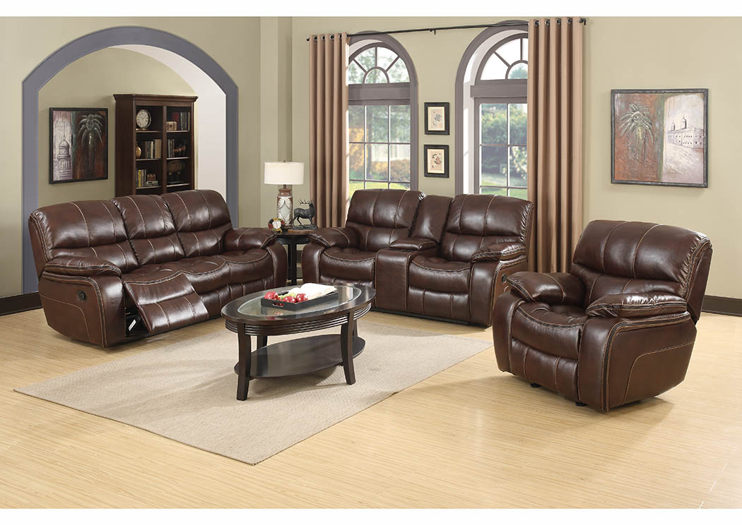 Just Furniture Burgundy Brown Leather Reclining Sofa & Loveseat