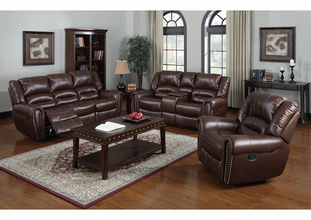 Just Furniture Burgundy Bonded Leather Reclining Sofa & Loveseat