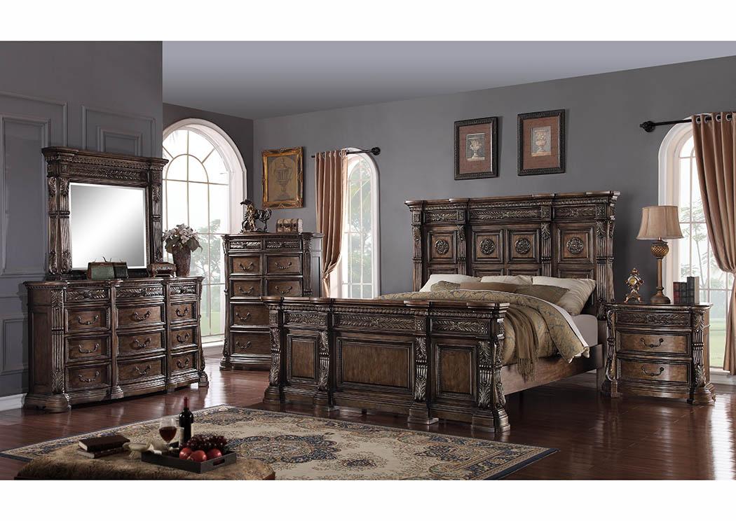 Market Furniture - Paterson, NJ Antique Walnut Queen Mansion Bed