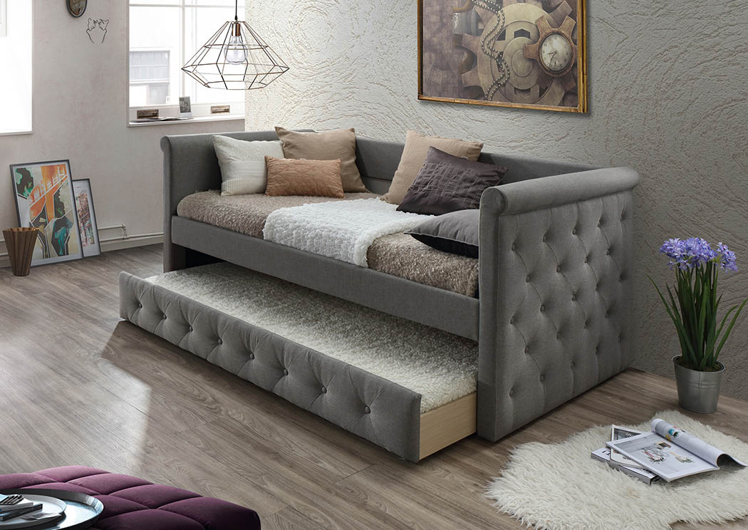 Gray Upholstered Linen Twin Day Bed,Furniture World Distributors