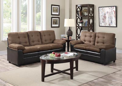 Two-Tone Chocolate & Cappucino Microfiber/Leather Sofa