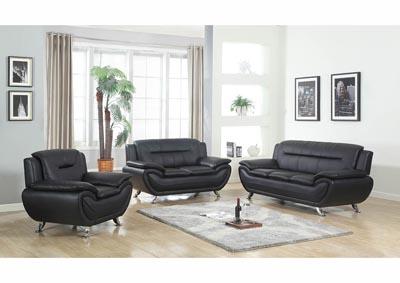 Just Furniture Black Leather Sofa Loveseat W Chrome Legs