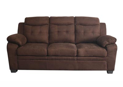 Tufted Chocolate Microfiber Sofa