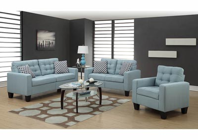 Turquoise Linen Sofa w/Pillows