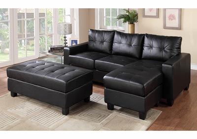 Black Sofa Chaise w/Ottoman