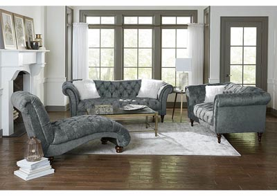 Gray Crushed Velvet Chaise