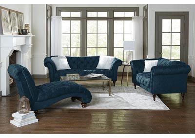 Teal Crushed Velvet Chaise