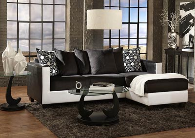 Black/White Sofa Chaise w/Corduroy Seating