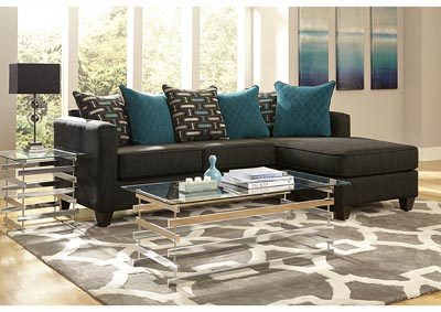 Charcoal/Teal Sofa Chaise w/Scatter-Back Pillows