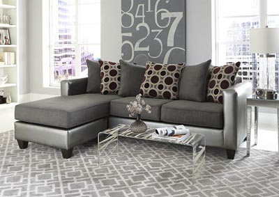 Silver/Gray Sofa Chaise w/Scatter-Back Pillows