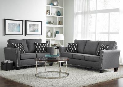 The Furniture Outlet NY Grey Chenille Nail Head Loveseat w ...