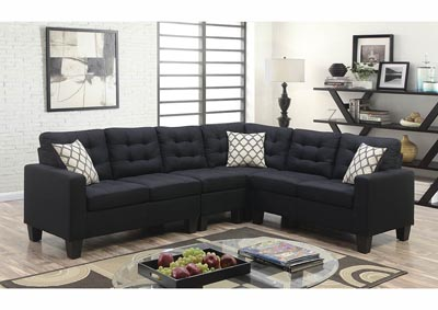 Image for Black Linen Sectional w/Accent Pillows