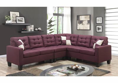 Image for Purple Linen Sectional w/Accent Pillows