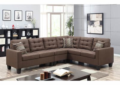 Image for Chocolate Linen Sectional w/Accent Pillows