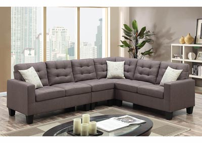 Image for Gray Linen Sectional w/Accent Pillows