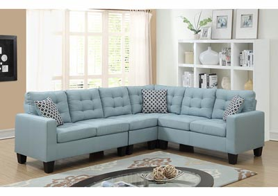 Image for Turquoise Linen Sectional w/Accent Pillows