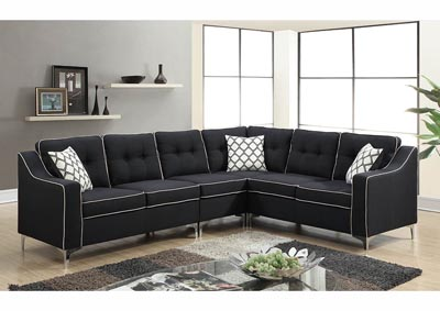 Image for Black Linen Chrome Leg Sectional w/Accent Pillows