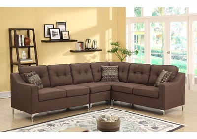 Image for Chocolate Linen Chrome Leg Sectional w/Accent Pillows