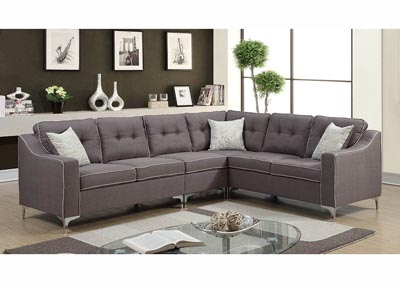 Image for Gray Linen Chrome Leg Sectional w/Accent Pillows