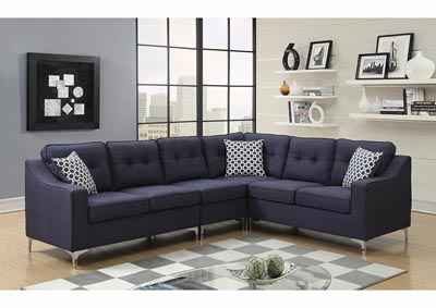 Image for Navy Linen Chrome Leg Sectional w/Accent Pillows