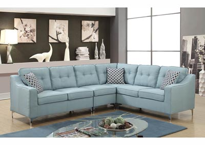 Image for Turquoise Linen Chrome Leg Sectional w/Accent Pillows