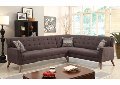 Image for Chocolate Chenille Sectional w/Accent Pillows