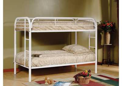 White Twin/Twin Metal Bunk Bed