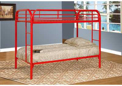 Red Twin/Twin Metal Bunk Bed