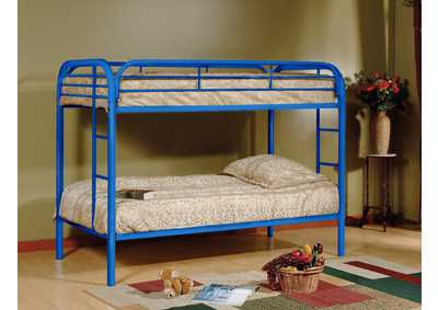 Blue Twin/Twin Metal Bunk Bed